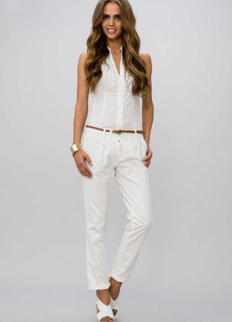 Белые брюки для худых девушек