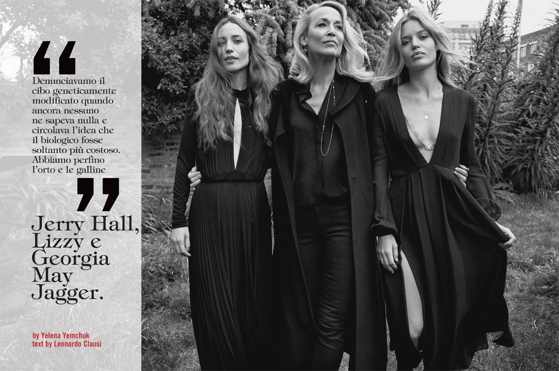 Джерри Холл с дочками для Vogue